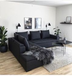affordable apartment living room design ideas on a budget ~ Home of Magazine Living Room Decor Cozy, Living Room Interior, Home Living Room, Home Interior Design, Dark Sofa Living Room, Decor Room, Cozy Living, L Living Room Ideas, Black Living Room Furniture