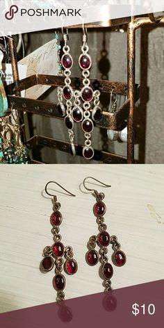 Silver amethyst chandelier drop earrings Silver amethyst chandelier drop earrings. Just needs silver polishing. Jewelry Earrings