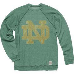 Original Retro Brand Notre Dame Fighting Irish Green Vintage ND Crewneck Sweatshirt - Medium