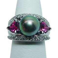 9.8mm Iridescent Genuine Cultured Pearl Tourmaline Diamond Ring 18K White Gold Ring Heavy Estate Jewelry