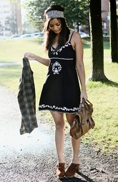 dress Costa Blanca  plaid flannel shirt Thrifted  satchel Material Girl  scarf Urban Outfitters  clogs Steve Madden