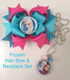 Frozen hair bow and bottle cap necklace set by TheJMarieBoutique, $13.99