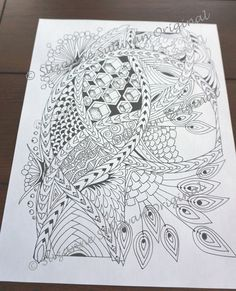 Zentangle Inspired Coloring Page Adult by ColorMeArtStudio on Etsy