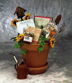Know someone who like gardening? great gift plant pot idea...fill a pot with seeds, trowels garden ornaments etc makes a lovely gift