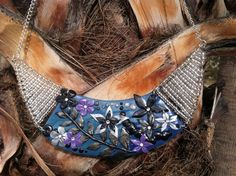 Stylized Blue Black Silver Purple Summer Floral Bib Necklace by VividVioletDesigns,
