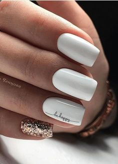 Square Nail Designs, White Nail Designs, Short Nail Designs, Acrylic Nail Designs, Pretty Short Nails, Short Nails Art, Long Nails, White Nail Art, White Nails