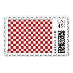 Red and White Checkered Pattern Country BBQ Colors Postage SOLD on Zazzle
