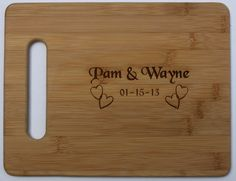 Wedding - Bridal Shower - Bridal Gift - Bamboo Cutting Board with Names Laser Engraved - Personalized 11 x 8.5