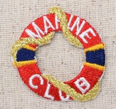 Iron On Embroidered Applique Patch NAUTICAL Marine Life Red Life Preserver Buoy