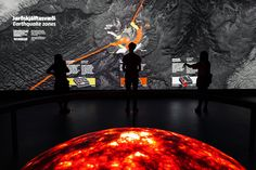 Seismic Zones: An interactive wall that responds to visitors movements and three shaking platters! At once this installation surprises the visitors and educates them about the Riftzone, the Shear zone and the Volcanic flank zone. Interactive Walls, Interactive Design, Exhibition Display, Museum Exhibition, Earthquake Zones, Shop Facade, Design Museum, Exhibit Design, Plate Tectonics