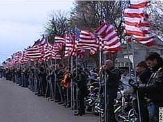 The Patriot Guard - Protecting military funerals. They were on hwy 75 near Bartlesville, OK spring 2012 spanned over a mile of bikers . A beautiful and amazing show of love and support.