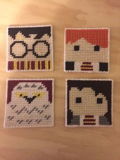 Harry Potter plastic canvas coasters were stitched on 7 count plastic canvas. This is a four coaster set that includes Harry Potter, Ron Weasley, Hermione, and Hedwig this is a made to order listing, so please allow days prior to shipping Plastic Canvas Coasters, Plastic Canvas Ornaments, Plastic Canvas Tissue Boxes, Plastic Canvas Crafts, Plastic Canvas Patterns, Harry Potter Perler Beads, Harry Potter Crochet, Cross Stitch Embroidery, Cross Stitch Patterns