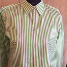 Ralph Lauren blouse Sporty yet classy green and white striped Ralph Lauren long sleeve blouse!! Beautiful Ralph Lauren Tops Blouses