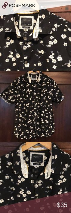 Cactus Man  shirt Cactus Man short sleeve button up shirt. Black with white floral. Mustard accent. Men's XL slim. Fits like a large in my opinion m Cactus Man Shirts Casual Button Down Shirts