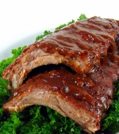 Oven-Baked Baby Back Ribs~T~ with a homemade dry rub and BBQ sauce. Yum