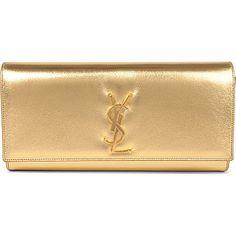 SAINT LAURENT Cassandre leather clutch (Gold