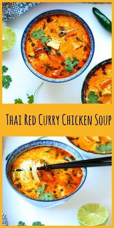 Soup recipes 462252349254187561 - Thai Red Curry Chicken Soup is packed with flavour, and super quick & easy to make. Takes 30 min max, to make. recipes # Thai recipes soup recipe Red Curry recipe Source by Leoniedrosler Top Recipes, Asian Recipes, Dinner Recipes, Cooking Recipes, Healthy Recipes, Red Curry Recipes, Easy Thai Recipes, Best Soup Recipes, Recipes