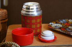 Aladdin Vintage Red Plaid Picnic Thermos by partnparcel on Etsy: I still have the lunchbox.