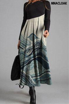 # Cotton Blend # Long Skirt # Splice / Printing # Casual Style # Leisure # V-Neck # Autumn / Winter / Spring # Long Skirt # Long Sleeve Maxi, Maxi Dress With Sleeves, Lace Skirt, Midi Skirt, Waist Skirt, High Waisted Skirt, Buy Maxi Dresses Online, Dress Online, Tie Dye Dress