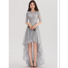 A-Line/Princess Scoop Neck Asymmetrical Tulle Lace Prom Dress - Prom Dresses - JJsHouse Grad Dresses, Trendy Dresses, Nice Dresses, Casual Dresses, Fashion Dresses, Formal Dresses, Formal Outfits, Formal Wear, Party Dresses