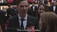 BuzzFeed interviewed Benedict Cumberbatch on the 2014 Oscars red carpet. | Benedict Cumberbatch Might Have The Weirdest Hidden Talent Ever