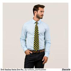 Evil Smiley Satin Dot Pattern On Black Silk Tie