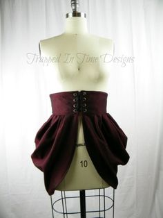 Bustle, Steampunk Bustle, Victorian Bustle, Side Bustle, Maroon Bustle | TrappedInTimeDesigns - Clothing on ArtFire