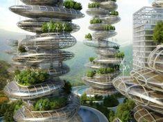 Asian Cairns Farmscrapers, Vincent Callebaut, vertical farm, shenzen, china, urban farming, eco towers,