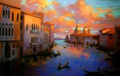 Sunrise Over Venice by Teresa Saia Pastel ~ 24 x 36