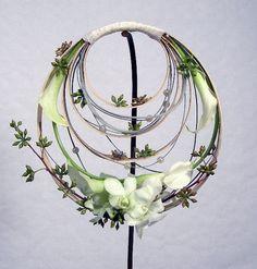 White circular arrangement  on vertical stand