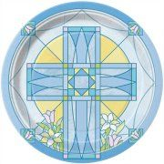 "7"" Blue Sacred Cross Religious Party Plates, 8ct"