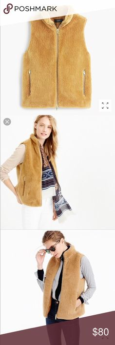 J. Crew Plush Fleece Excursion Vest Adorable and super soft camel vest in excellent condition! Very little wear. Runs a little oversized so would fit sizes small or medium best. J. Crew Jackets & Coats Vests