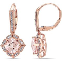 Angled Cushion-Cut Genuine Morganite and Diamond 10K Rose Gold... ($1,250) ❤ liked on Polyvore featuring jewelry, earrings, long diamond earrings, diamond earrings, pink gold earrings, cushion cut drop earrings and cushion cut earrings