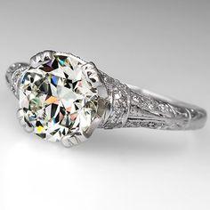 Near 2 Carat Diamond Old Euro Antique Engagement Ring Platinum 1930's