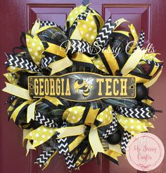 Georgia Tech Wreath  Ga Tech Wreath  Ga Tech Deco by MsSassyCrafts