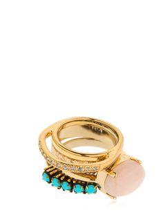 Iosselliani Set Of 4 Rings In Gold/pink Iosselliani, Gemstone Rings, Quartz, Brass, Turquoise, Gemstones, Pink, Gold, Jewelry
