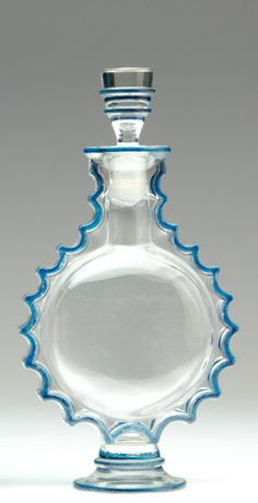"""Rene Lalique for Worth - """"Requette"""", clear with blue enamel Skyscraper molded 1940's"""