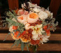 Bridal Bouquet-David Austin Juliet roses, english garden roses, seeded eucalyptus and chocolate mum.