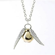 Snitch+Gold+Necklace+Harry+Potter+And+The+Deathly+Hallows+Golden+Snitch+Necklace(1+Pc)+–+USD+$+1.99