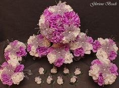 Wedding Bouquet Lavender Flower 16 PC Set BEADED Lily FREE BOUTS Quinceanera #GloriousBeadsBeadedBridalFlowers #Wedding