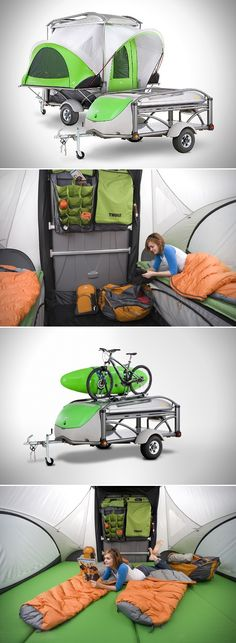 The Go Camper Trailer from Sylvansport---doesn't look like you're very safe & secure when sleeping---must take dog with you---easy to open?
