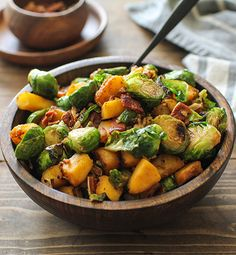 Cinnamon-Maple Glazed Brussels Sprouts and Butternut Squash with Bacon - Inspired Gathering