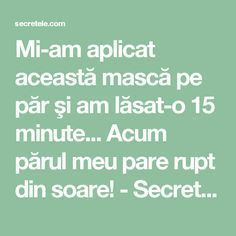 Mi-am aplicat această mască pe păr şi am lăsat-o 15 minute... Acum părul meu pare rupt din soare! - Secretele.com How To Get Rid, Purple Wedding, Hair Goals, The Secret, Health Tips, Curly Hair Styles, Hair Care, Health Fitness, Hair Beauty