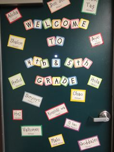 My Back to School Classroom door! Has welcome in different languages. First Grade Classroom, School Classroom, School Teacher, School Boy, Kindergarten Classroom, Sunday School, Classroom Organisation, Classroom Design, Classroom Ideas