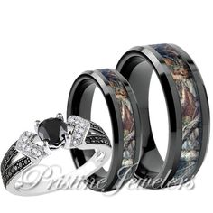 Women 925 Sterling Silver Ring Men Black Anium Mossy Forest Oak Camo Band Set