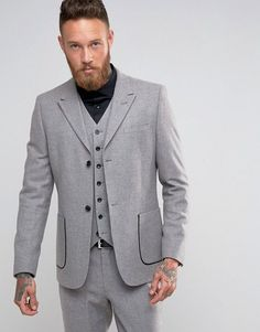 ASOS Skinny Suit Jacket with Piping Detail in Light Gray