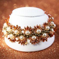 Swarovski Crystal Pearl Daisy Chain Inspired Bracelet by SparkleBunnyFrouFrou on Etsy