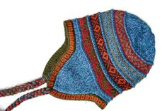 "Blue ""Chullo"" Comfortable and Cozy high quality Alpaca knit beanie."