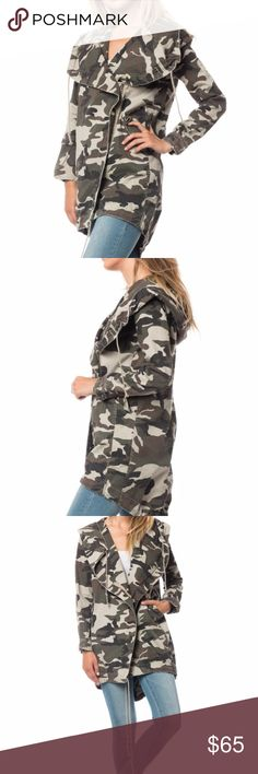 NWT RETAIL! Camo Jacket! Durable and high on trend camouflage  jacket. Long for extra warmth. Side zipper giving a unique extreme collar line. Deep pockets. Cinch it around the waste for a fitted look. An attached hood! Jackets & Coats Utility Jackets