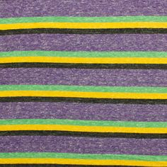 """Claire Stripe Cotton Jersey Blend Knit Fabric - Super soft cotton jersey knit stripes in colors of heather purple, black, golden yellow, and green. Fabric is very soft, light to mid weight, and has a nice stretch.  Stripes repeat is 2"""".  ::  $5.00"""
